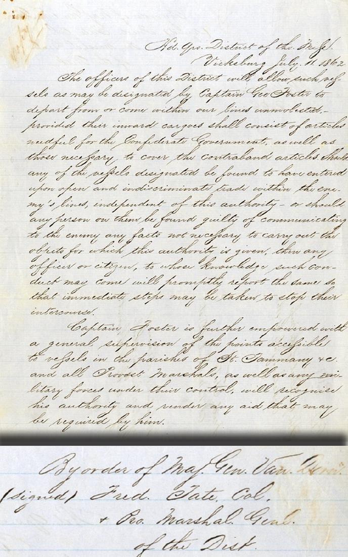 Order Issued By Major General Van Dorn