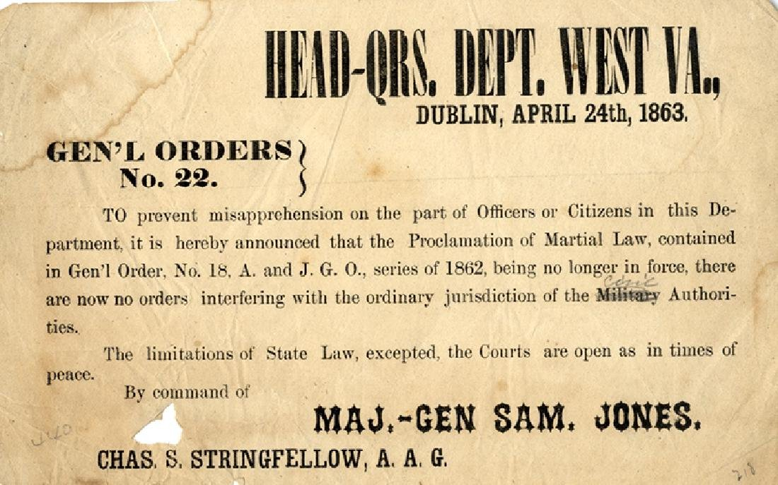 From West Virginia Confederate Field Printed Broadside