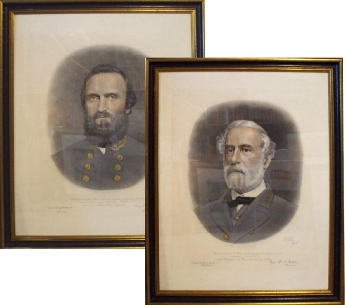 Two Fine Colored Engravings of Generals Robert E. Lee