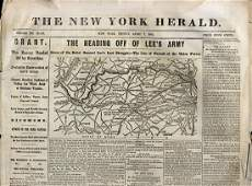 Lot of 8 Civil War era newspapers with front page MAPS