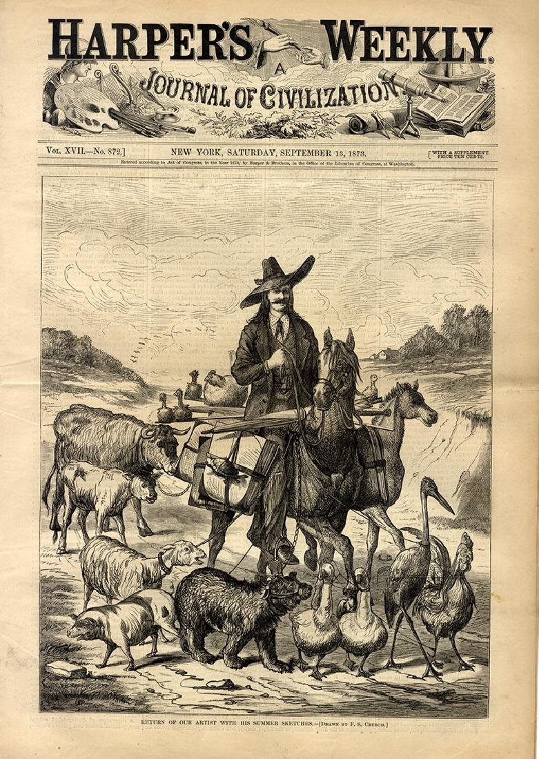 Dozen Harper's Weekly issues from 1873