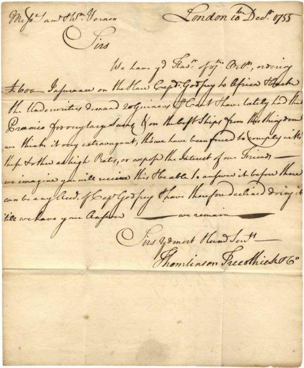 009: 1755 Letter to the Vernons - Regarding Slave Ship