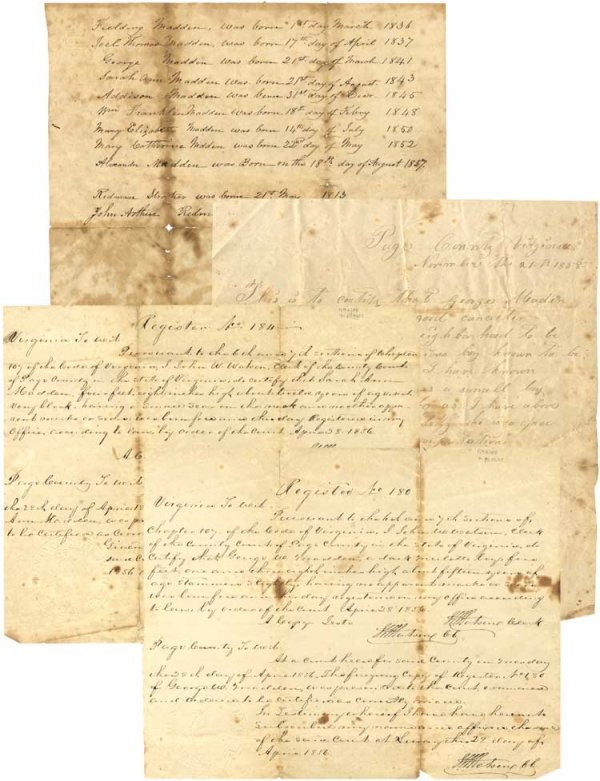 """020: Virginia """"Free Persons of Color"""" Documents"""