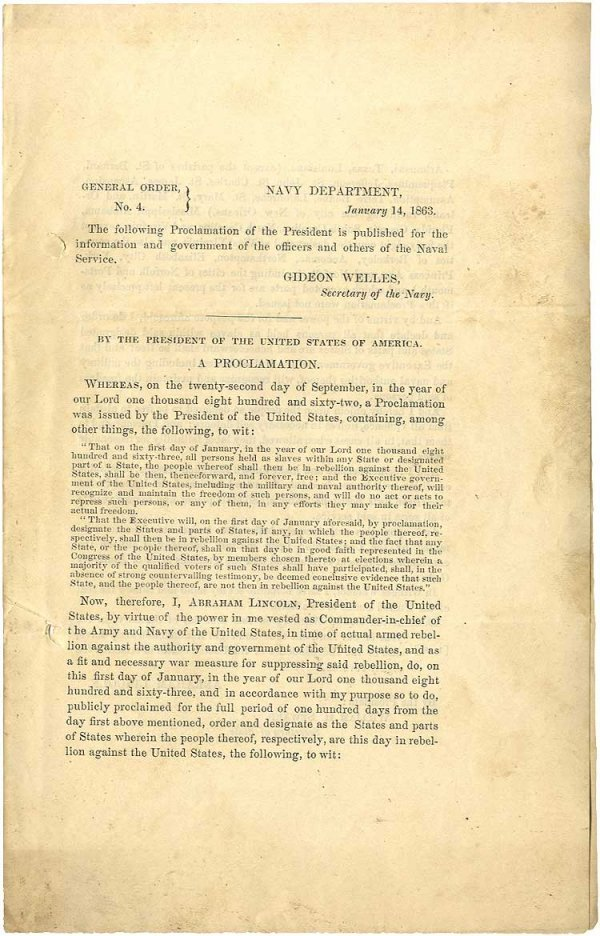 024: Emancipation Proclamation Published for the Navy