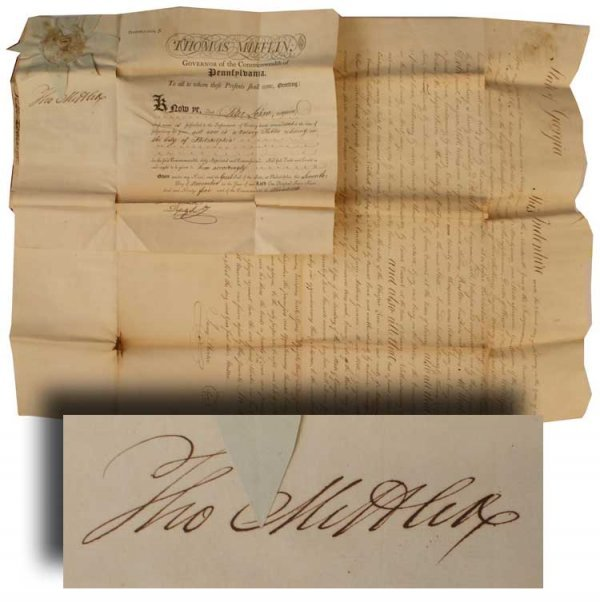 008: Georgia Land Deed Signed by Thomas Mifflin For 225