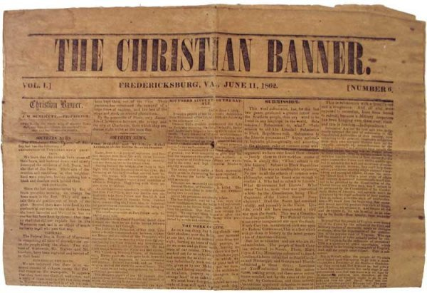 023: 1862 Confederate Newspaper, The Christian Banner B