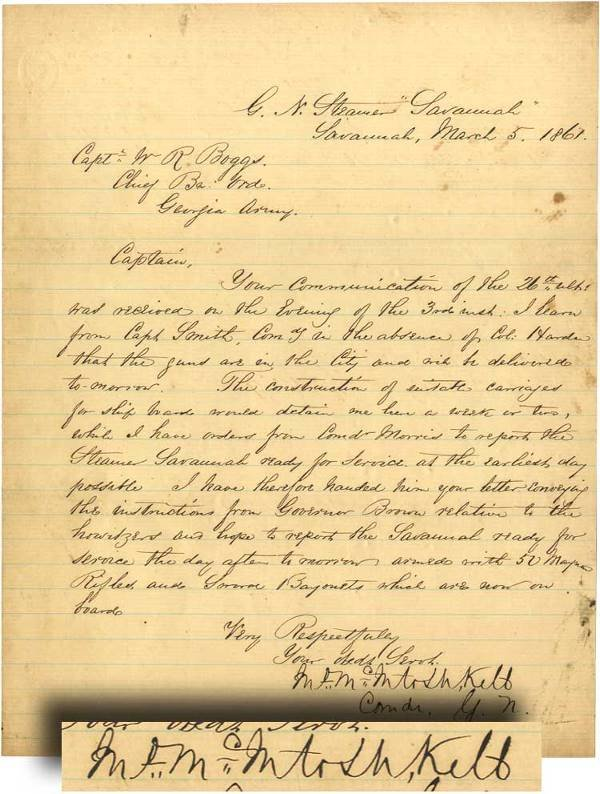 1: John McIntosh Kell Signed Letter Pertaining to the