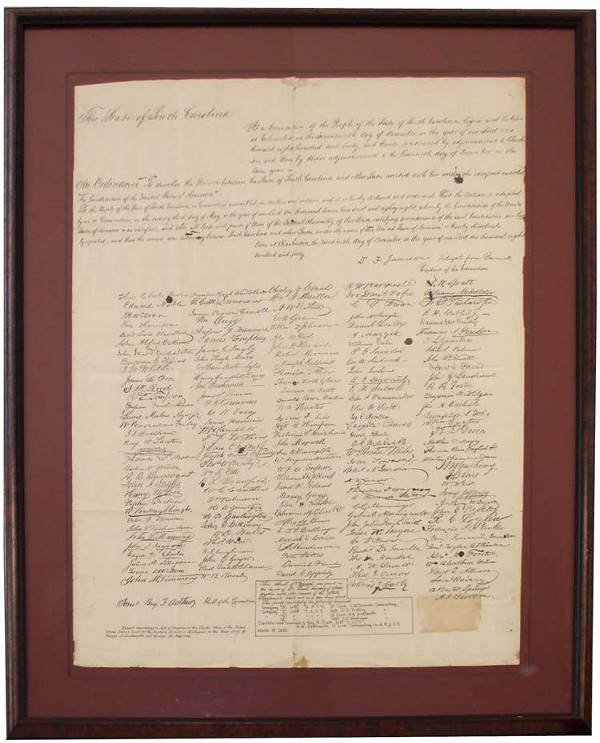 "7: SOUTH CAROLINA - ORDINANCE OF SECESSION/ ""SCROLL OF"