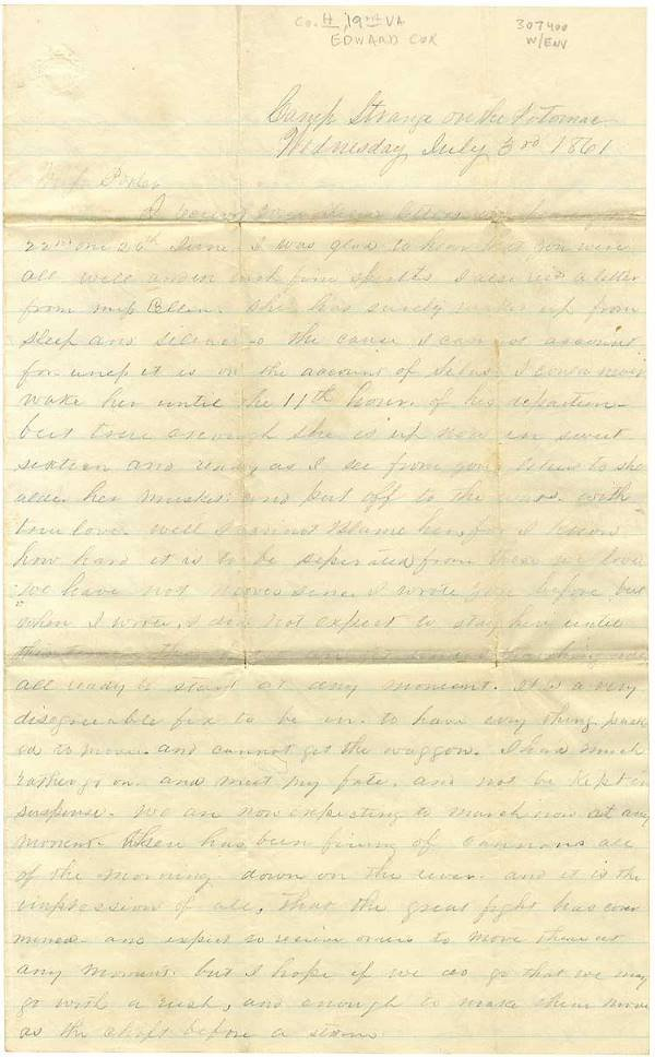 12: 19th Virginia 'Southern Rights Guard' Letter