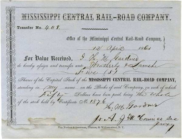 20: Mississippi Railroad Document Issued The Day Fort S