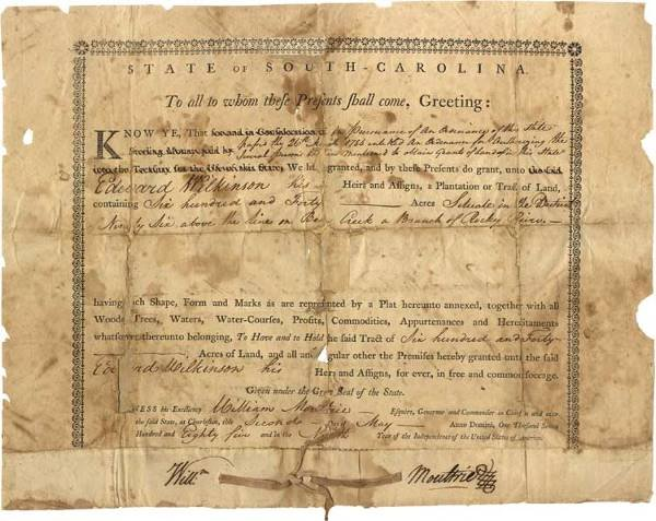 533: Governor Moultrie Signed Document
