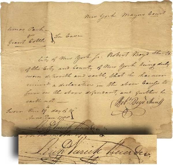 534: Richard Varicks Signed Document