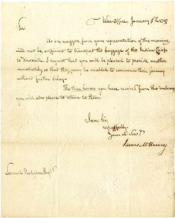 537: James McHenry Signed Letter with Good Indian Conte