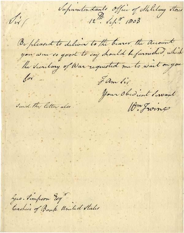 538: General Irvine Letter Pertaining to the Secretary
