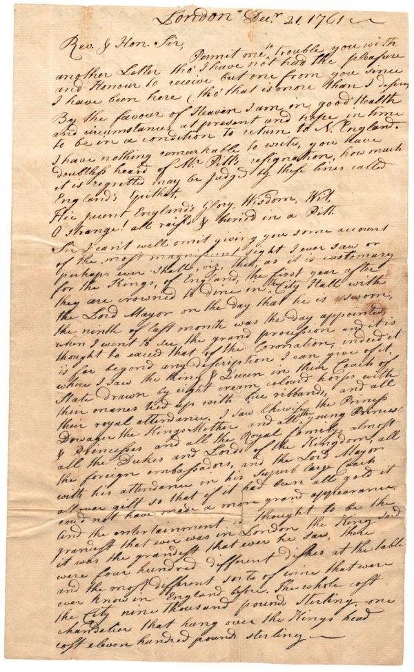 3: Letter to Boston describing King George III receptio