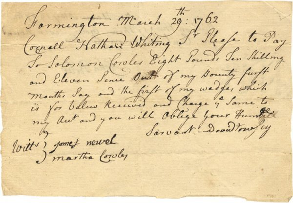 4: French Indian War Receipt for Future Major General S