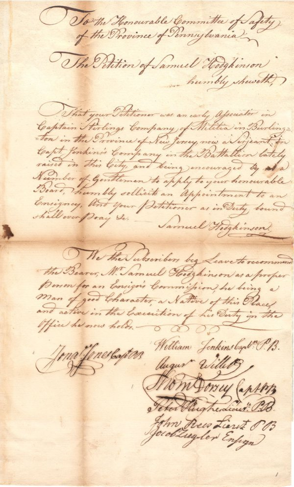 13: Petition of Samuel Hodgkinson to a Position in the