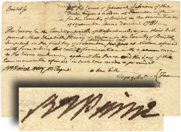 19: Robert Treat Paine Legal Document about Fornication