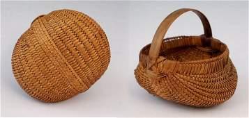 143: c. late 1800's Miniature Oak Split Buttocks Basket