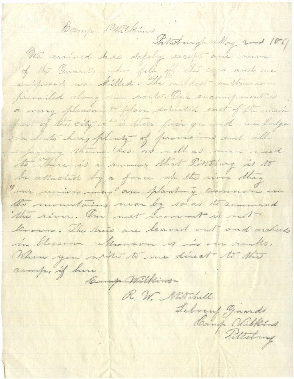 514: Rare 6th Penn. Cavalry Letter on the Defenses of P