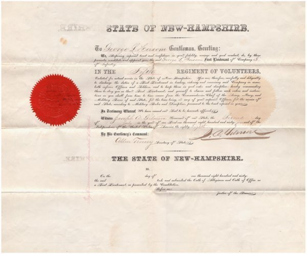 493: 5th New Hampshire Commission for Antietam Casualty