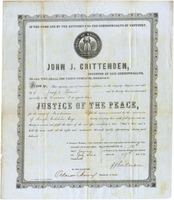 495: John Crittenden Signed Document