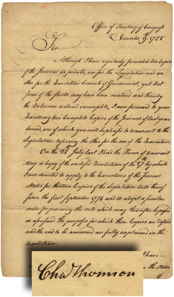 16: Charles Thomson Signed Congressional Letter