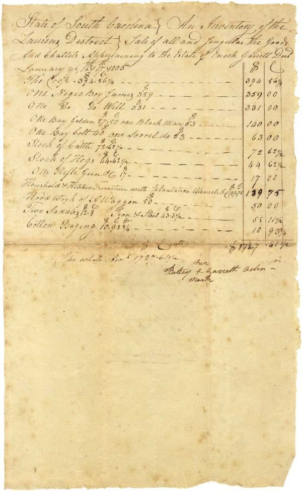 24: 1805 South Carolina Slave Sale