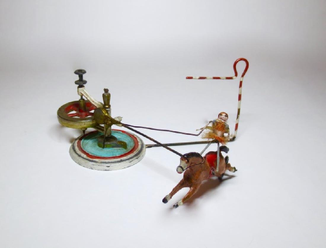 French? Equestrienne Fly Wheel Mechanical Toy