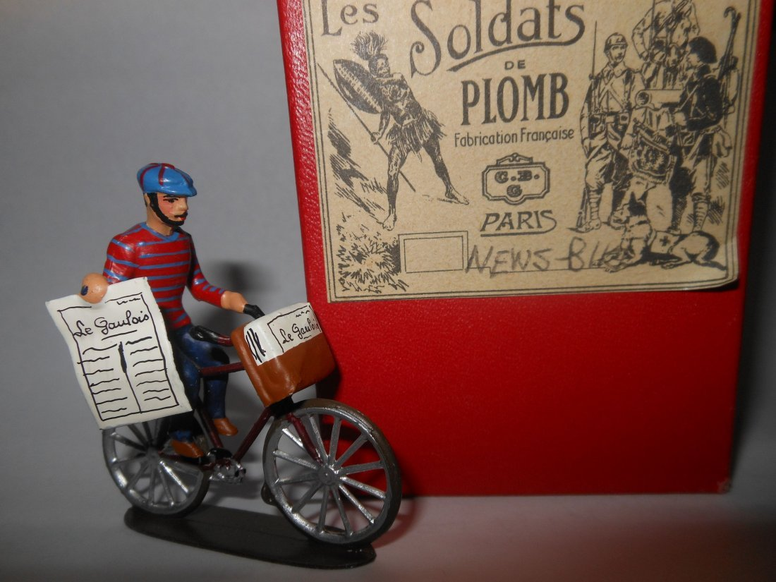 Mignot French Newspaper Boy on Bicycle