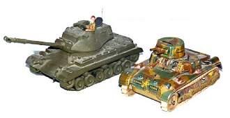 1 Gama Postwar Metal Tank and 1 Plastic Tank