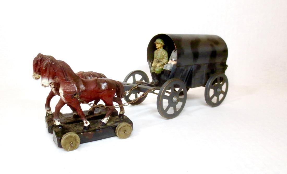 Elastolin Composition Horse Drawn Tin Wagon