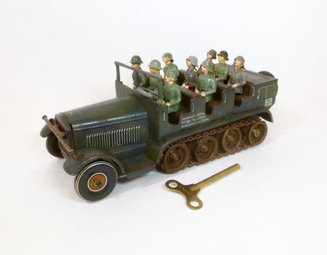 Tippco Tin Wind-up Half-Trak with Soldiers & Key