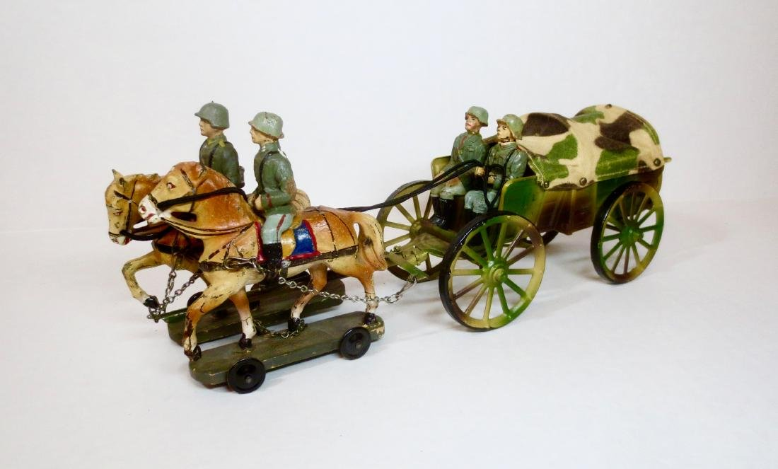 Elastolin WW2 Horse Team & Tin Supply Wagon