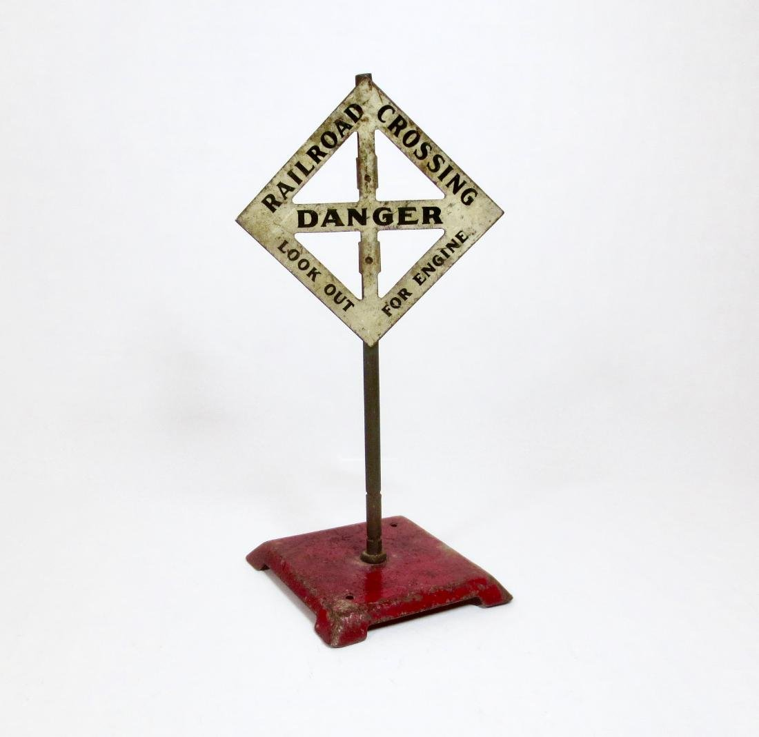 """Maker Unknown 6"""" Tin Railroad Crossing Sign"""