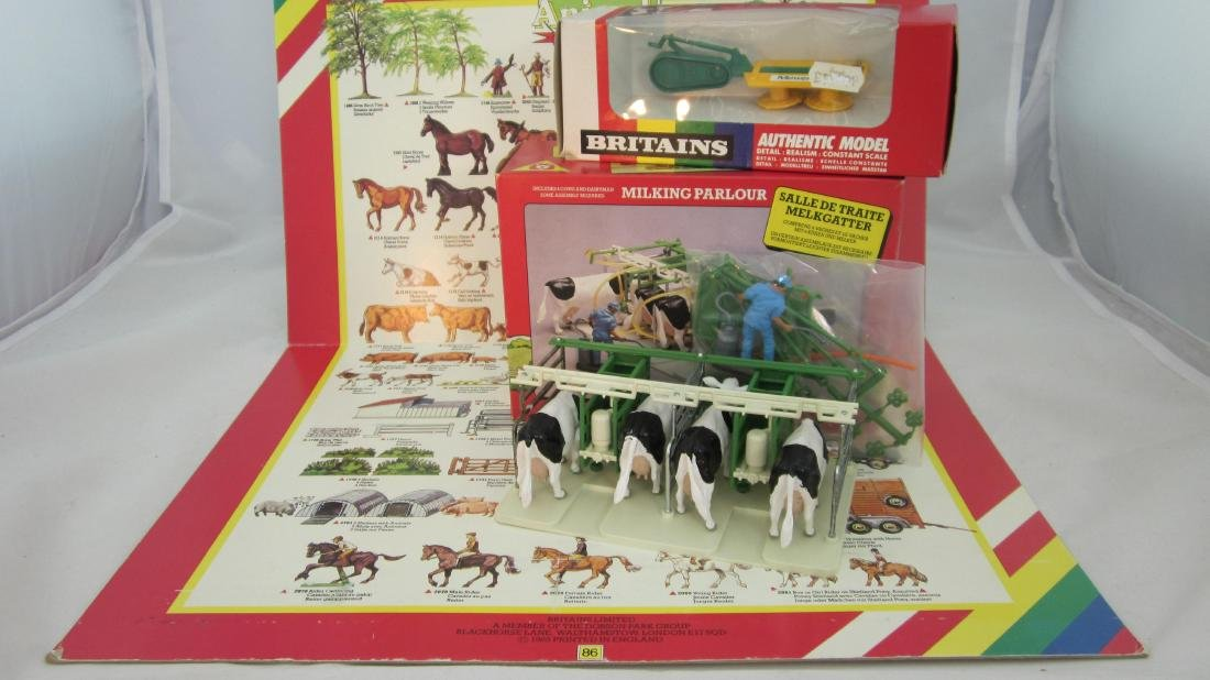 Britains Plastic Milking Parlor, Mower & Poster.