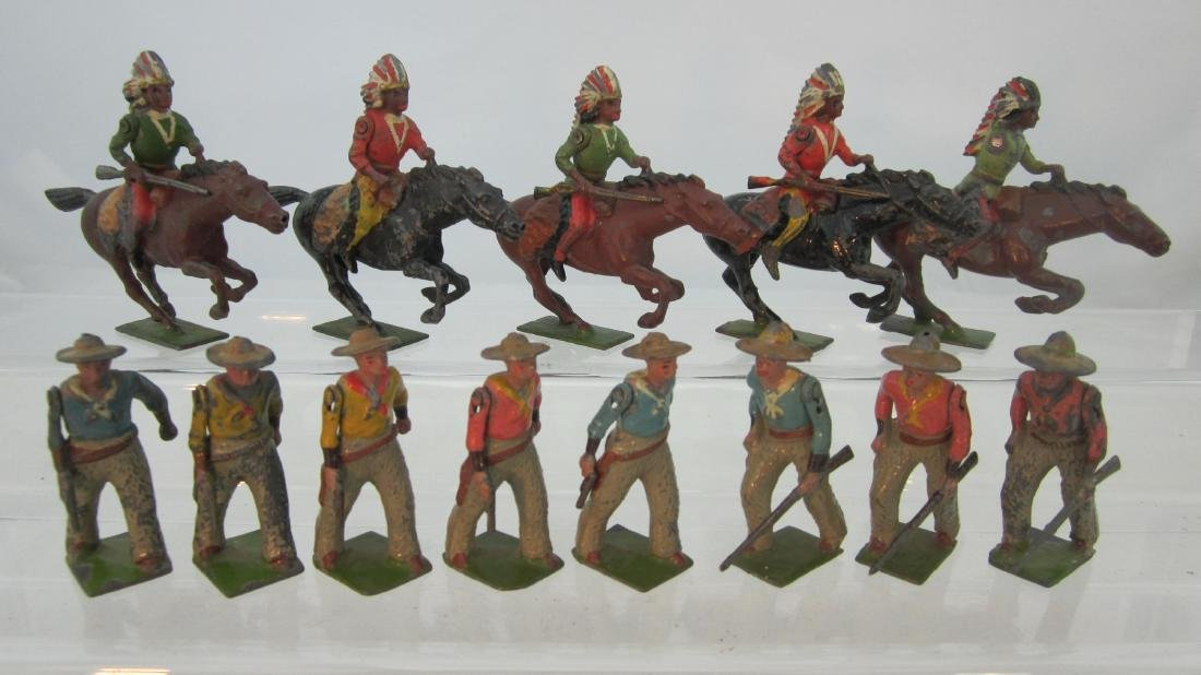 Britains  Cowboys & Attacking Mounted Indians.