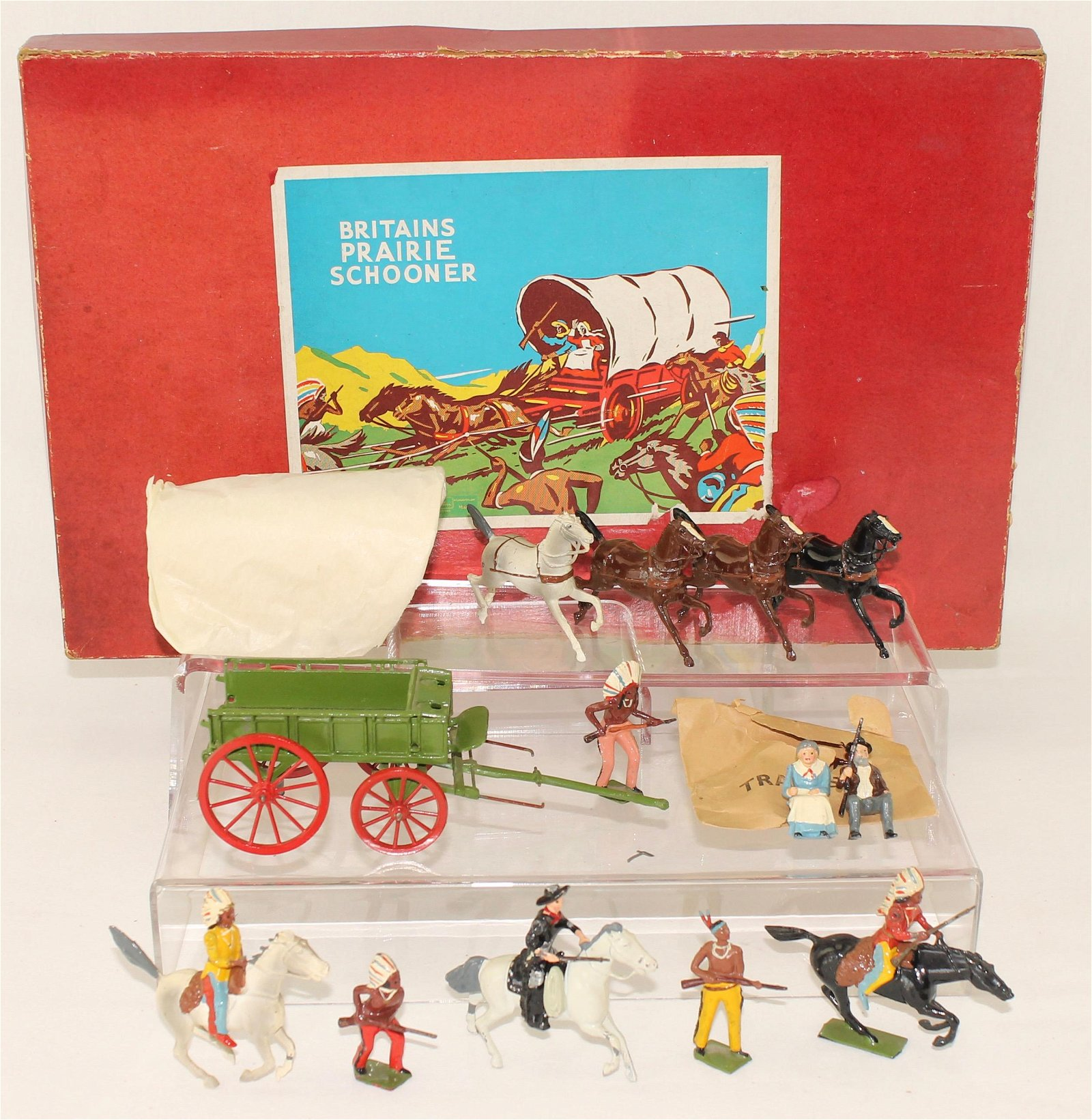 Britains Set #2042 Covered Wagon Cowboys Indians