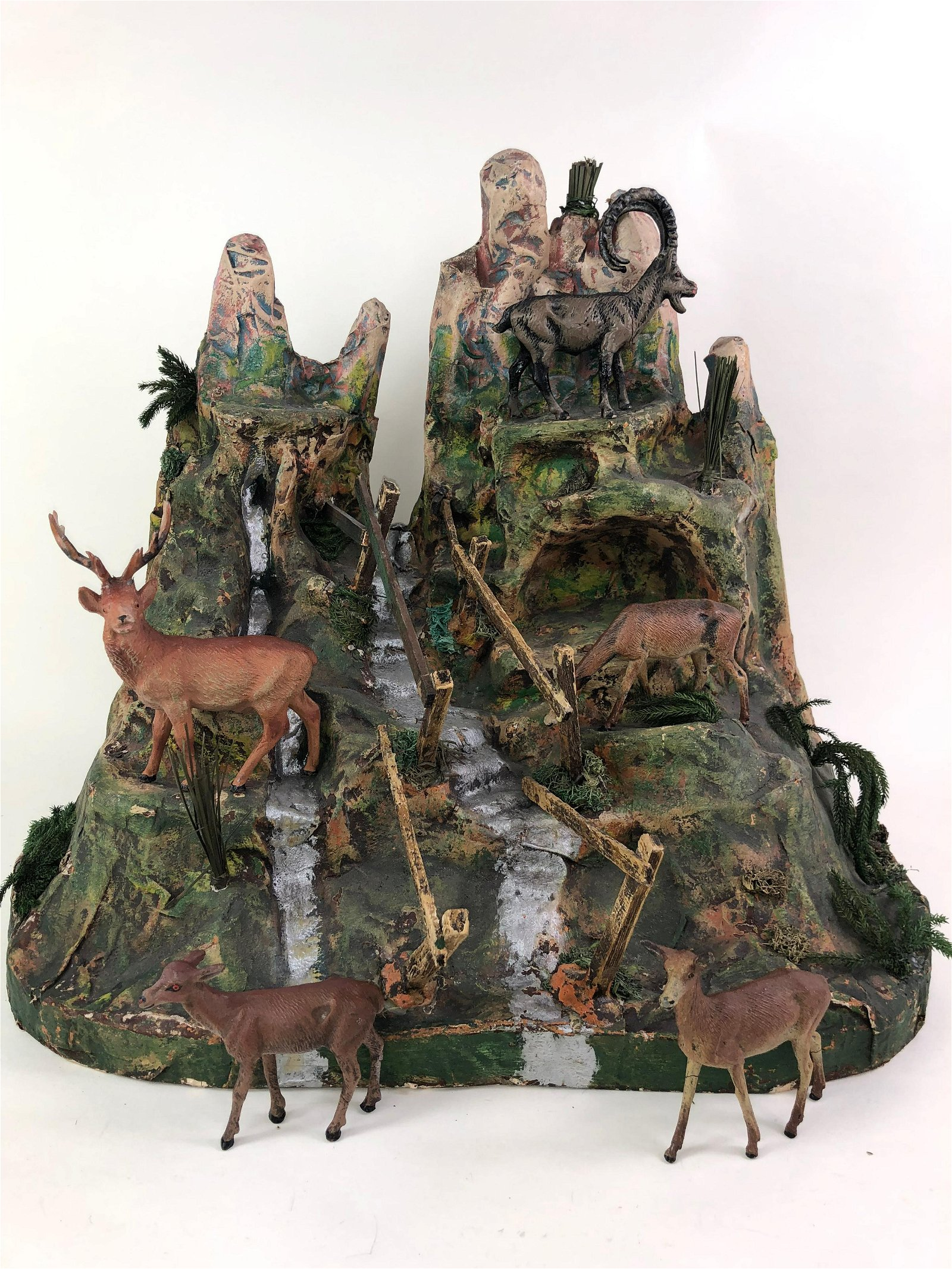 Elastolin Composition & Wood Mountain Top Diorama