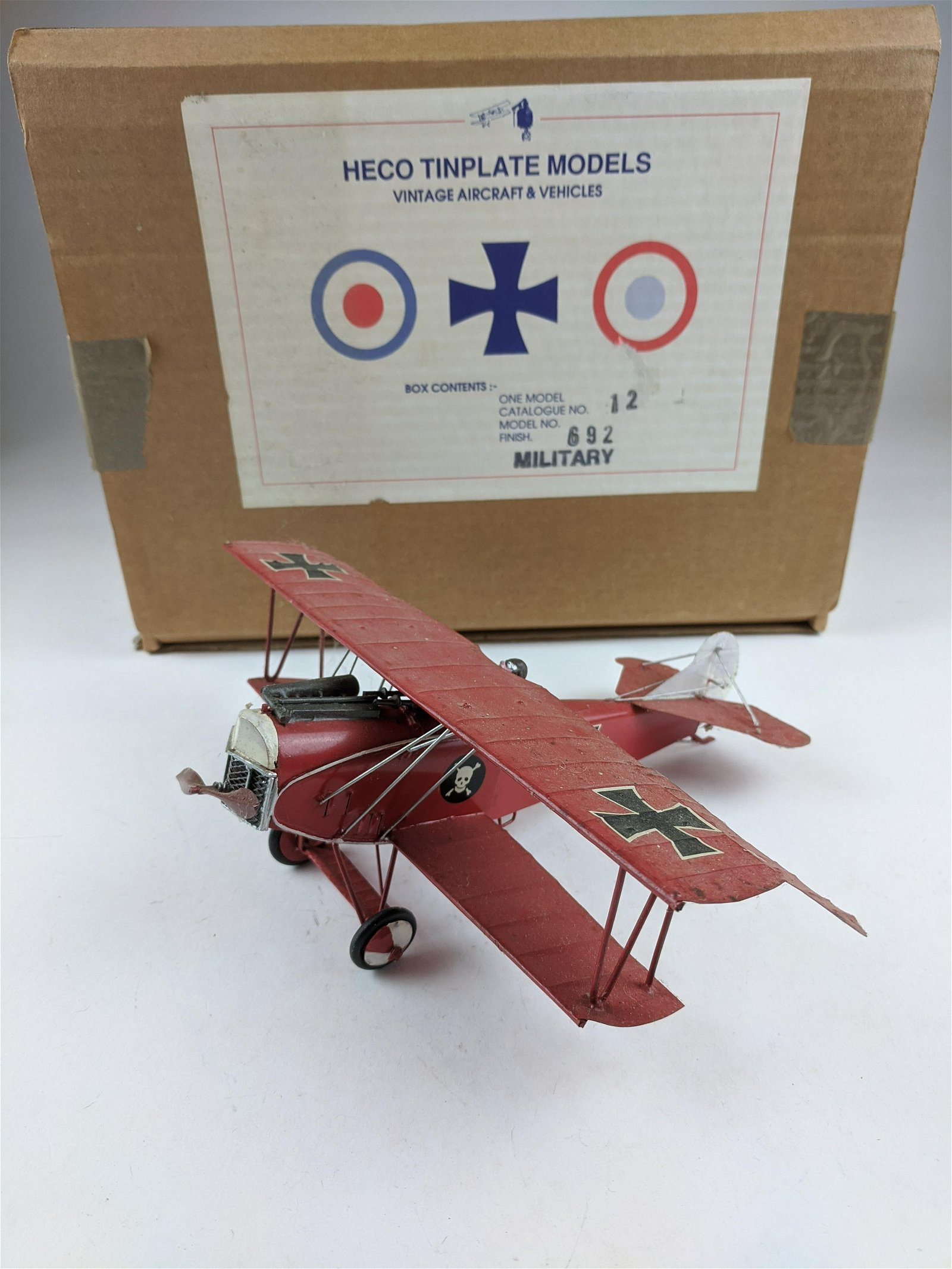Heco Tinplate WWI German Red Baron Bi Plane