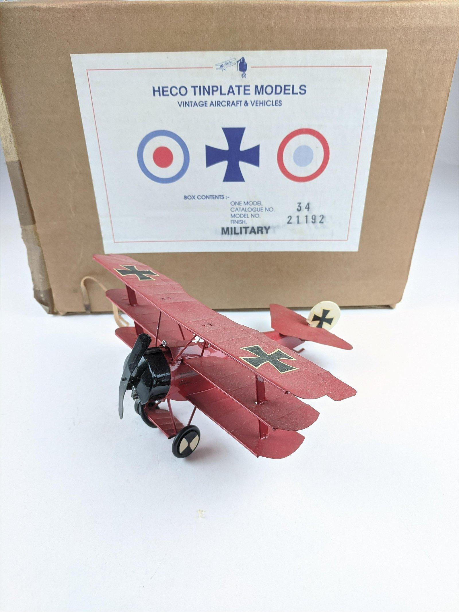Heco Tinplate WWI German Red Baron Tri Plane