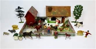 British Hollowcast Farm Figures with Wooden Farm