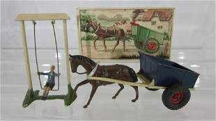 Britains Farm Cart And Boy On Swing.