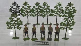 Britains Assorted Boy Scouts And Trees.