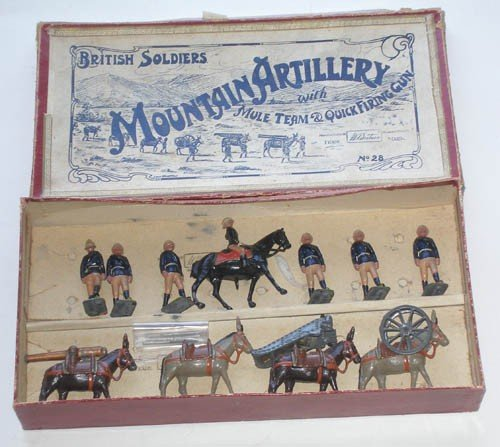 6: Britains Set # 28 Mountain Artillery with Mules.