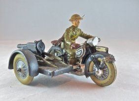 Lineol Motorcycle W/mg On Sidecar Us Soldier