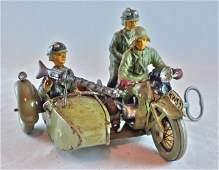 Elastolin Rare Clockwork Sidecar Motorcycle