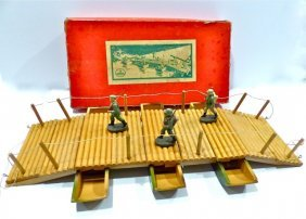 Elastolin Pontoon Bridge In Box W/3 Soldiers