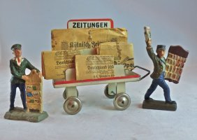 Rare Kibri Metal Newspaper Cart+2 Figures
