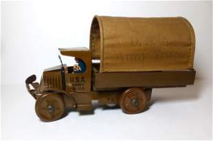 Marx U.S.A Army D-105 Truck Wind-up Tin Toy